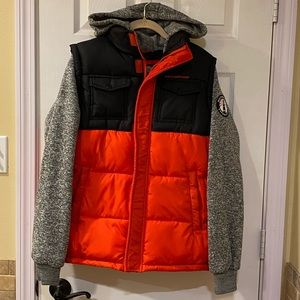 Boy's Puffer Vest with Attached Hoodie XL